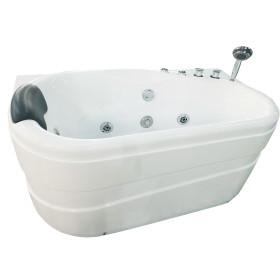 EAGO AM175-R 57'' White Acrylic Corner Jetted Whirlpool Bathtub W/ Fixtures