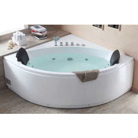 EAGO AM200 5' Rounded Modern Double Seat Corner Whirlpool Bath Tub with Fix