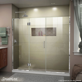 DreamLine D3262272L Unidoor-X 72 - 72 1/2 in. W x 72 in. H Hinged Shower Door Left-wall Bracket