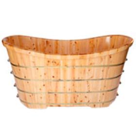 ALFI brand AB1105 63'' Free Standing Cedar Wooden Bathtub