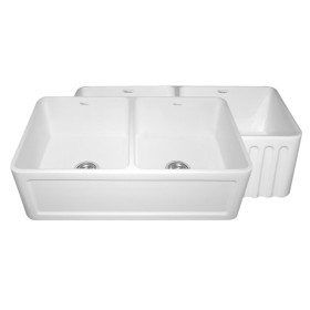 Whitehaus WHFLCON3318 Fluted or Concave Double Bowl Fireclay Farm Sink