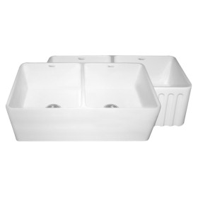 Whitehaus WHFLPLN3318 Double Bowl Fluted & Plain Fireclay Farm Sink