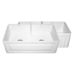 Whitehaus WHFLRPL3318 Raised Panel or Fluted Reversible Fireclay Farm Sink