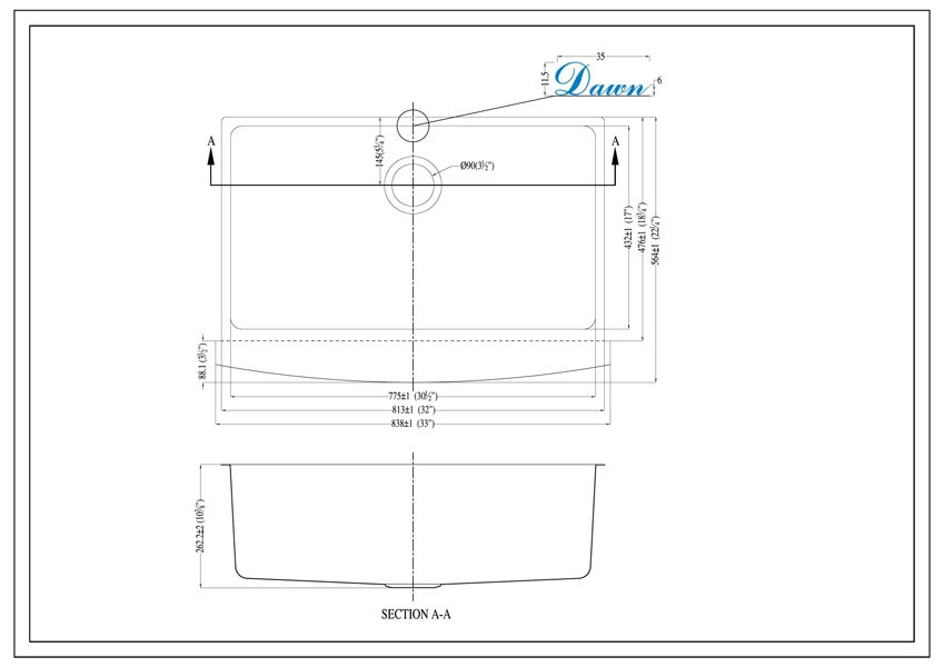 Dawn Daf3320c Stainless Undermount Apron Front Sink At