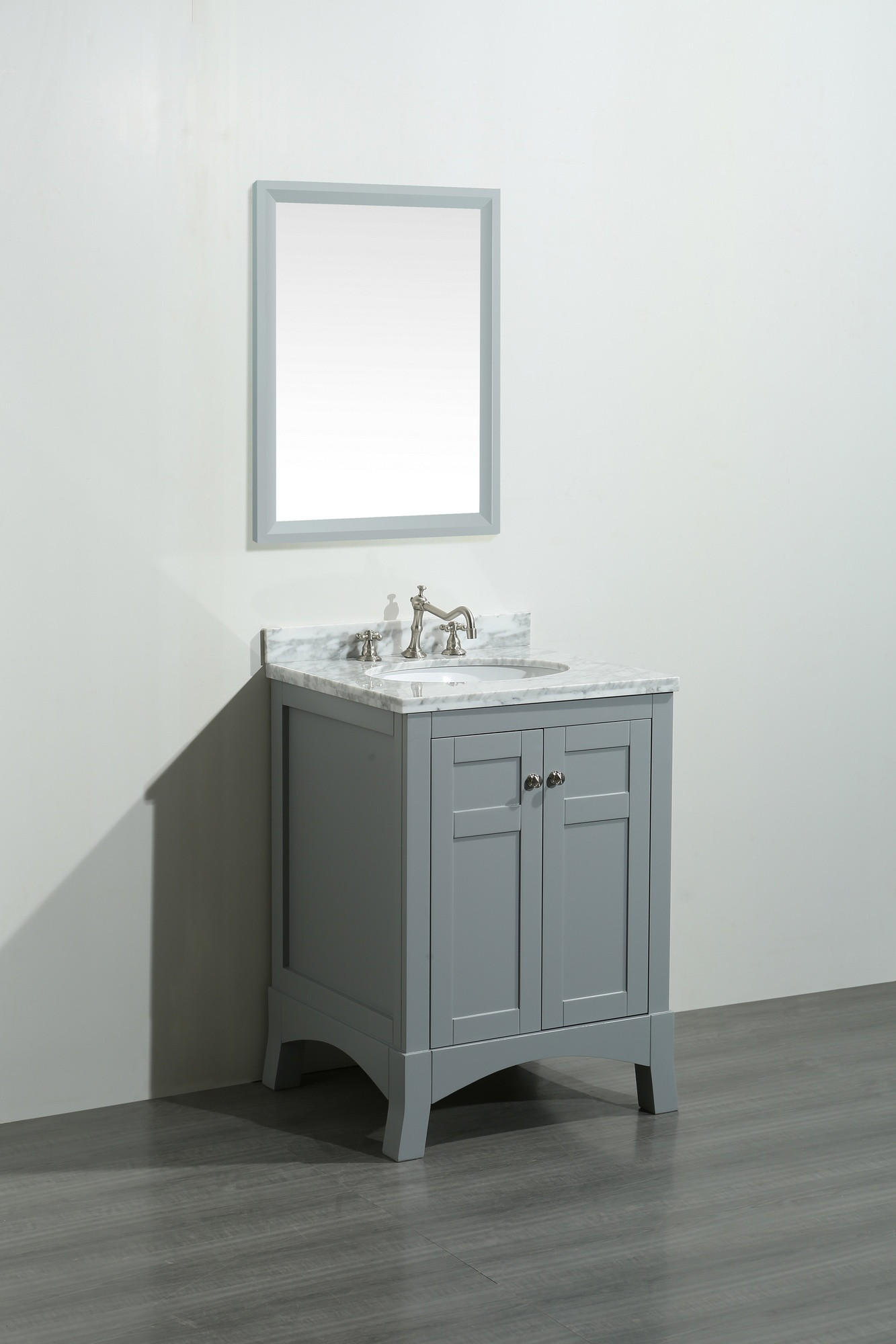 Eviva Evvn514 24 New York 24 Inch Bathroom Vanity With White Marble Carrera Countertop And Sink
