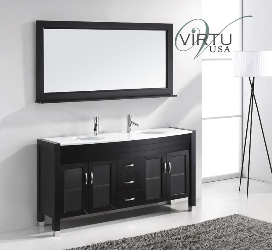 Virtu usa md 499 es 63 ava espresso double sink - Espresso double sink bathroom vanity ...