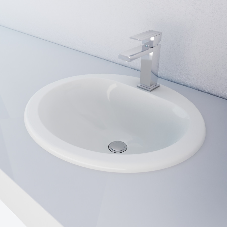 Cantrio Koncepts Ps 112 Ceramic Counter Top Sink With Deck