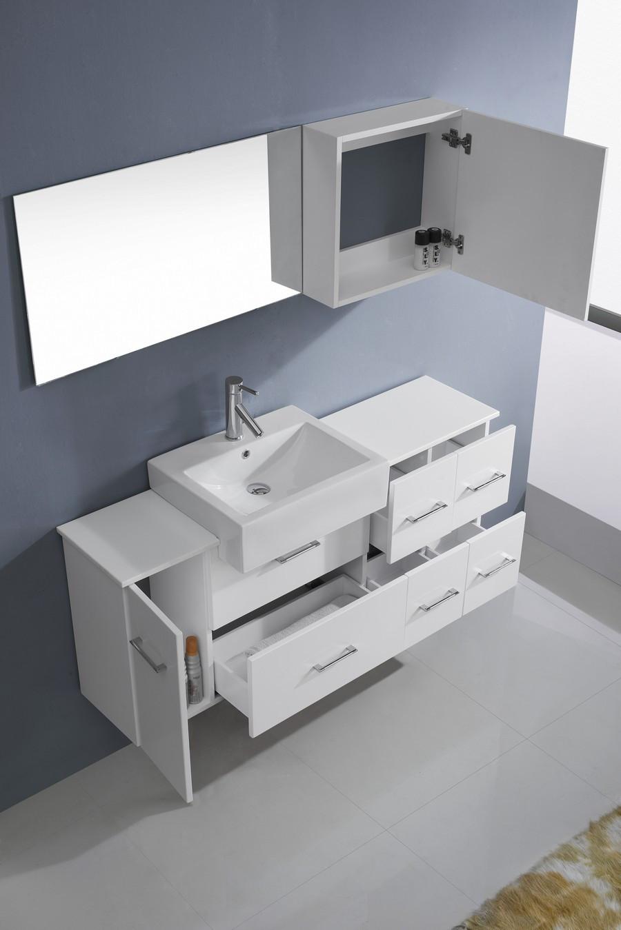 Virtu um 3055 s 001 modern 55 inch hazel single sink - 55 inch bathroom vanity single sink ...