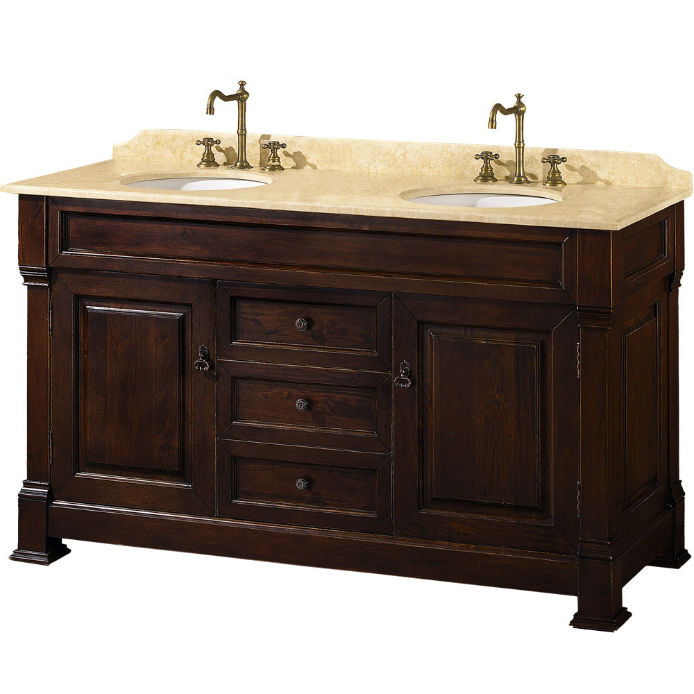 Wyndham WC-TD60 Traditional Wood Double Sink Bathroom