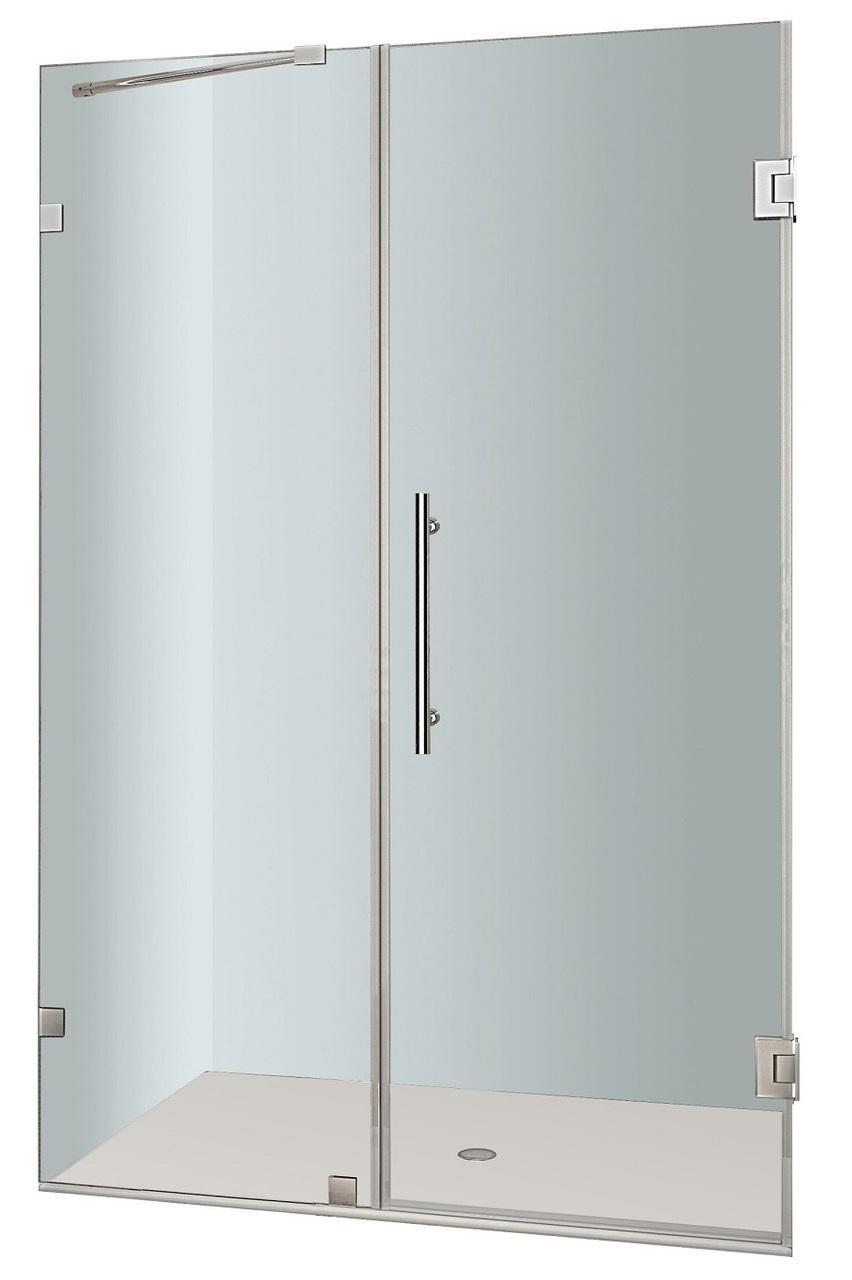 Aston Nautis 59x72h Stainless Steel Frameless Hinged Shower Door