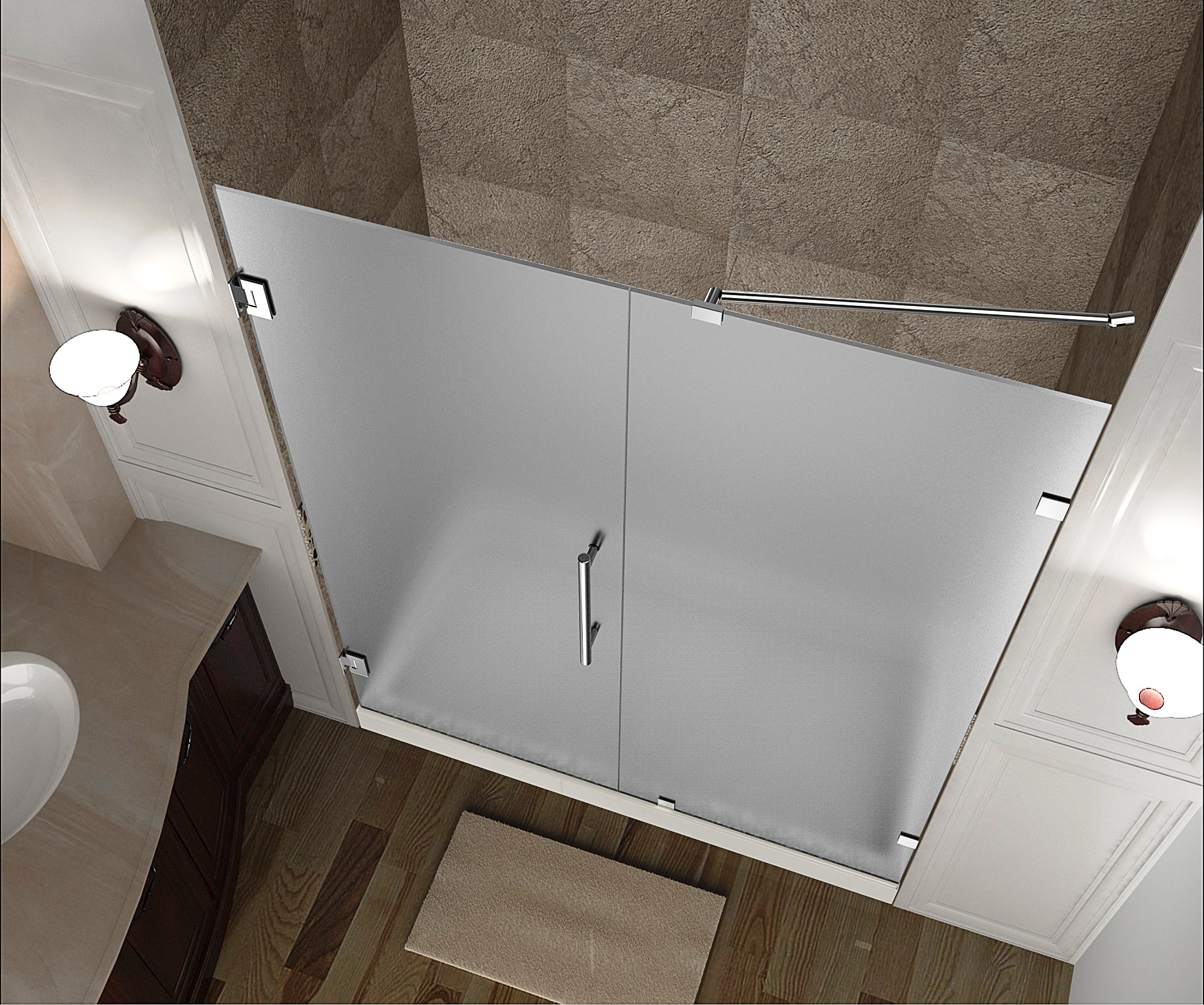 Aston Sdr985f 55 10 55 X 72 Frameless Hinged Frosted Glass Shower Door