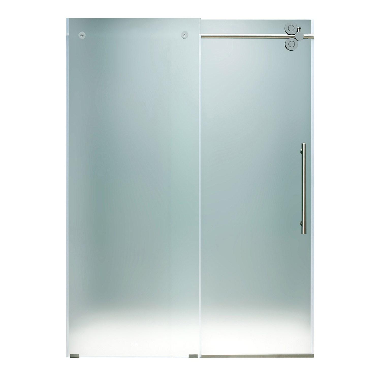 VIGO VG6041MT6074R Elan Sliding Frameless Frosted Glass Shower Door ...