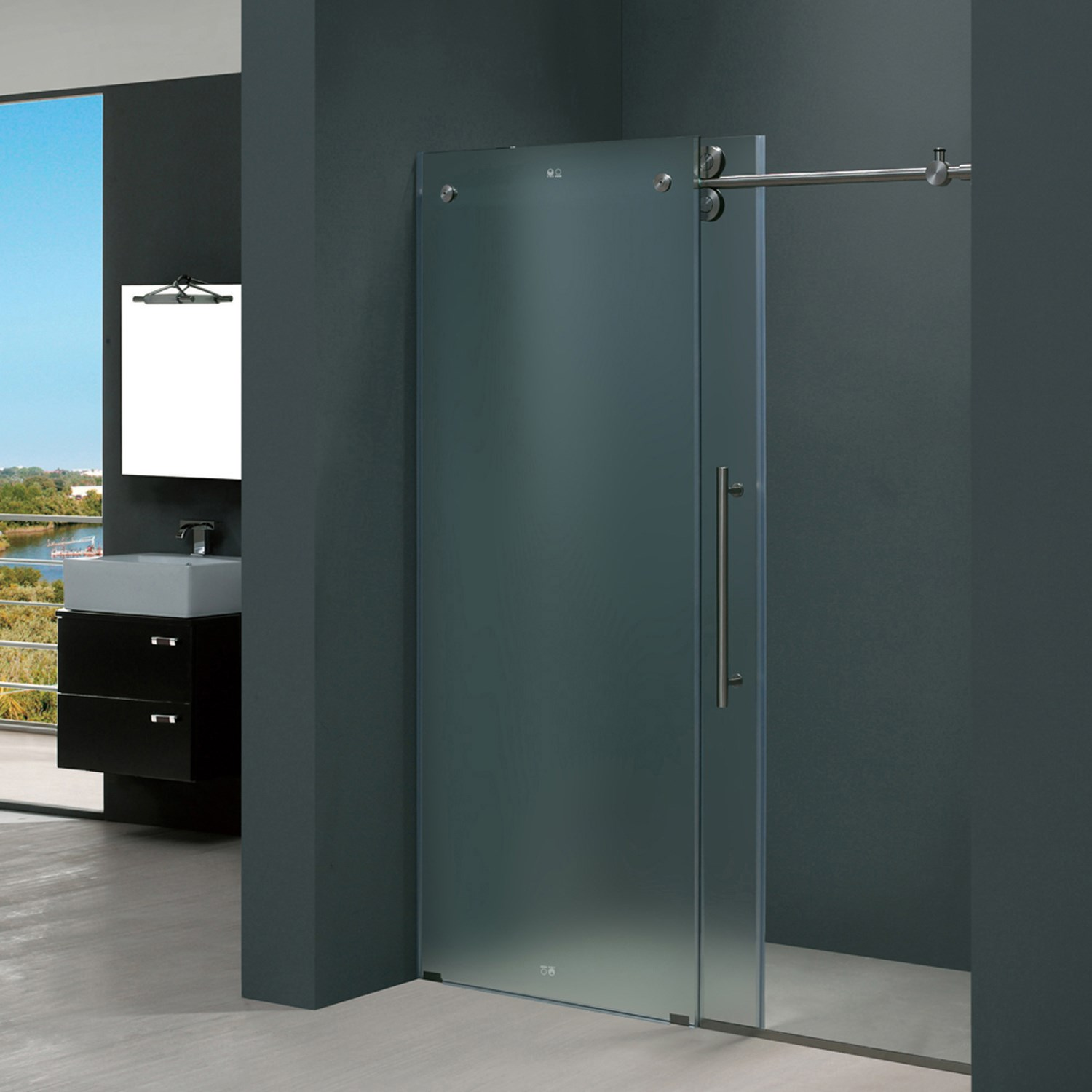 Vigo Vg6041mt6074r Elan Sliding Frameless Frosted Glass Shower Door