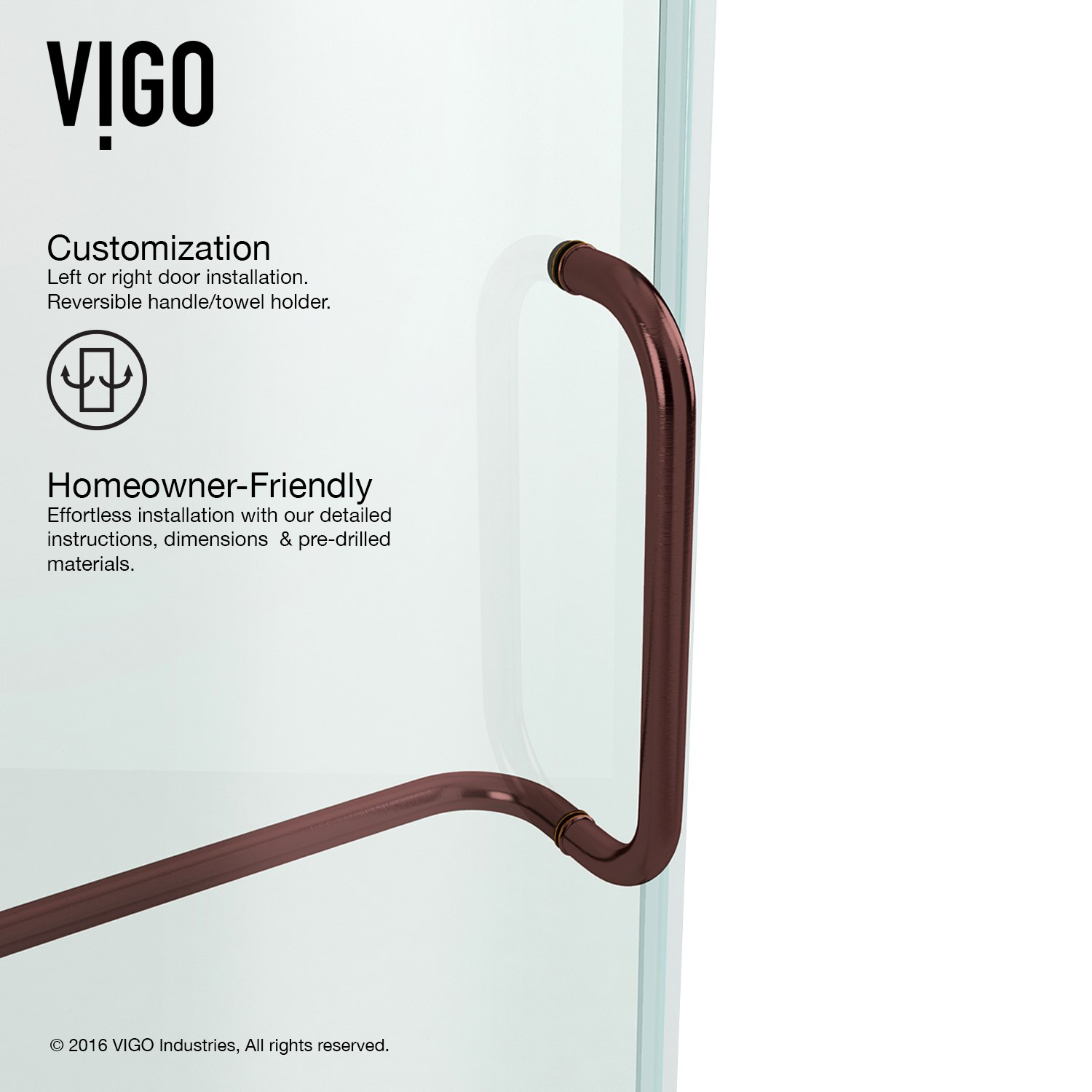Vigo Vg6042cl42 Pirouette Reversible Frameless Clear Glass Shower